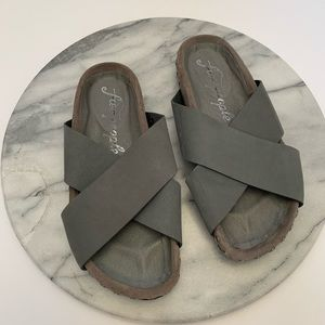 Free People crossover grey leather studded sandals